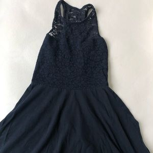 Navy lace above the knee hollister dress.